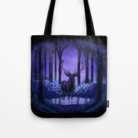 elf Tote Bags featuring Elf Forest by Sachpica