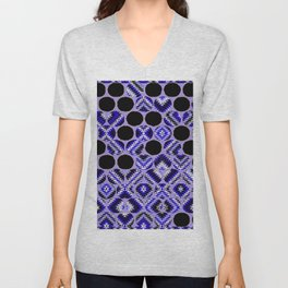 DECORATIVE  PURPLE & BLACK ABSTRACT ART Unisex V-Neck