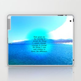 Serenity Prayer With Blue Ocean and Amazing Sky Laptop & iPad Skin