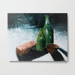 Bottles Still Live Pallet Knife Metal Print