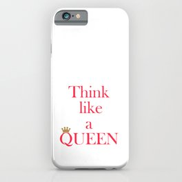 Think like a queen inspiring pink text, typographic print, gold crown, gift for her iPhone Case