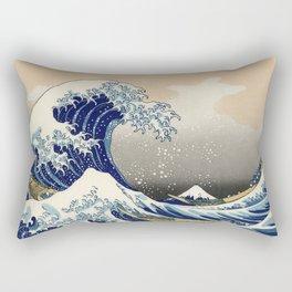 Wave Woodblock Print Rectangular Pillow