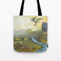 skyrim Tote Bags featuring Skyrim by mixedlies