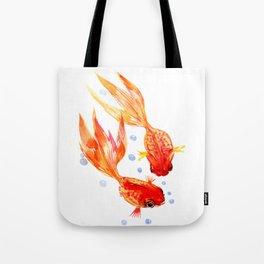 Goldfish Nursery Illustration Feng Shui Two Fish Art Tote Bag