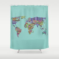 decal Shower Curtains featuring Overdose World by Bianca Green