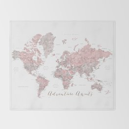 World map in dusty pink & grey watercolor, Adventure awaits Throw Blanket