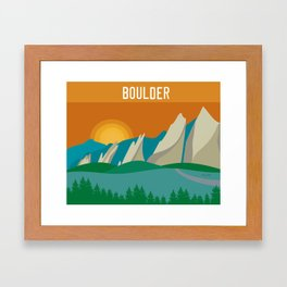 Boulder, Colorado - Skyline Illustration by Loose Petals Framed Art Print