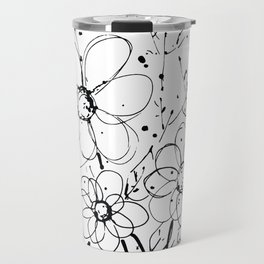 Scribble Doodle Flowers No.7A by Kathy Morton Stanion Travel Mug