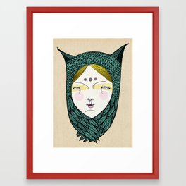 The owl girl Framed Art Print