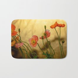 Colorful poppies in evening light Bath Mat