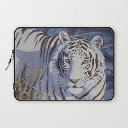 White Tiger with Blue Eyes Laptop Sleeve