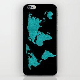 Teal Cyan Metallic Foil Map on Black iPhone Skin