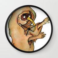 hocus pocus Wall Clocks featuring Hocus Bogus by hannah koslosky