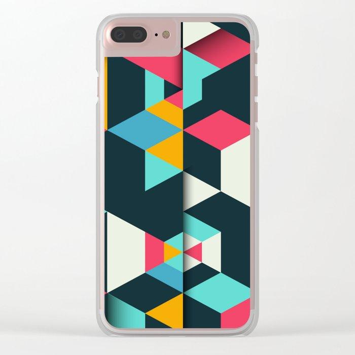 Gradient Cubes Clear iPhone Case