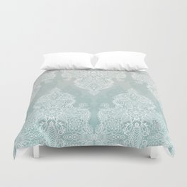 Lace & Shadows - soft sage grey & white Moroccan doodle Duvet Cover