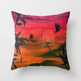 Oriental Sunset Throw Pillow