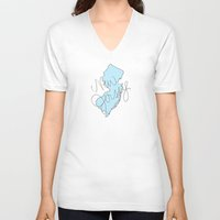 new jersey V-neck T-shirts featuring New Jersey - Blue by Oh Happy Roar - Emily J. Stivers