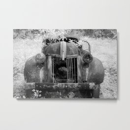 Missing Grill in Abandoned Pickup Rusting in Forest Black and White Infrared Metal Print
