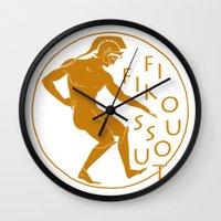 greek Wall Clocks featuring GREEK LOGO by Fifikoussout