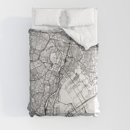 Tokyo White Map Comforters