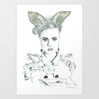 cara delevingne Art Prints featuring Cara Delevingne by Simona Borstnar