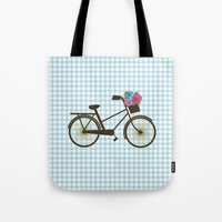 bike Tote Bags featuring Bike by Juliana Zimmermann