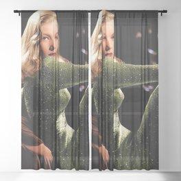 Classic Veronica Lake Portrait in Green - Jeanpaul Ferro Sheer Curtain