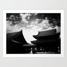 Buddhist Temples Kyoto Japan High Contrast Black and White Photography Art Print