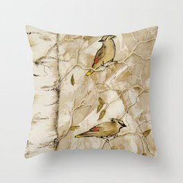 Cedar Waxwings in Birch Tree Throw Pillow