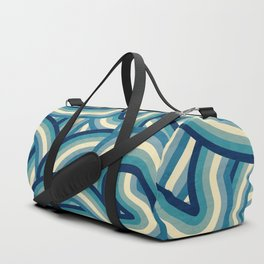 Vintage Faded 70's Style Blue Rainbow Stripes Duffle Bag