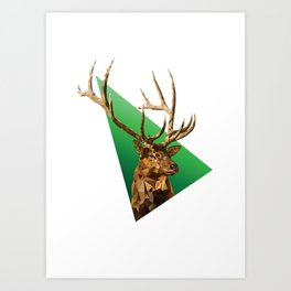 LOW POLY ELK Art Print