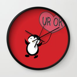 UR OK Penguin in love Wall Clock