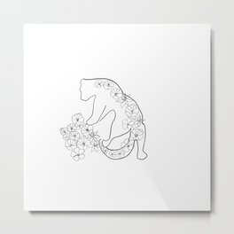 Tiger grows a hill of flowers Metal Print