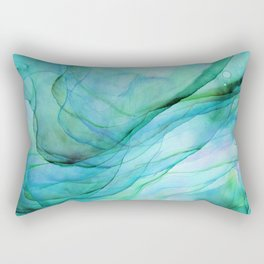 Sea Green Flowing Waves Abstract Ink Painting Rectangular Pillow