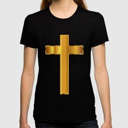Golden Christian Crucifix T-shirt