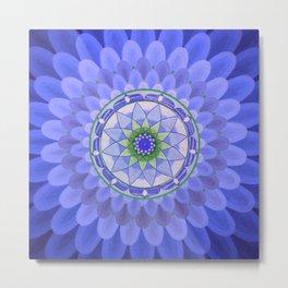 Blue harmony mandala Metal Print