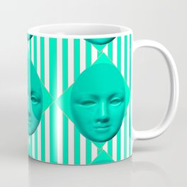 CONTEMPORARY TURQUOISE MOON FACE & STRIPES ART Coffee Mug