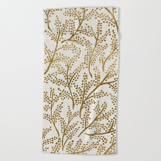 Gold Branches Beach Towel