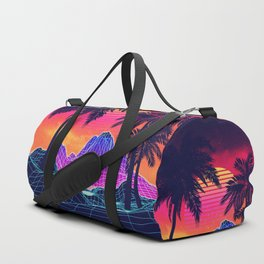 Neon glowing grid rocks and palm trees, futuristic landscape design Duffle Bag