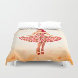 """Check Out These Melons"" - The Playful Pinup - Girl in Watermelon Dress by Maxwell H. Johnson Duvet Cover"