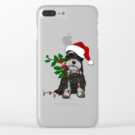 Black and White Christmas Schnauzer Clear iPhone Case