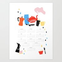calendar Art Prints featuring Calendar 2014 by Anne
