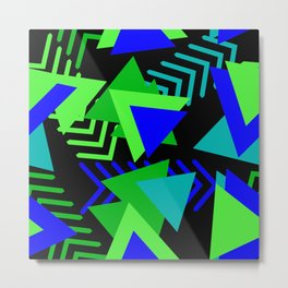Abstract Triangles in Lime, Blue and Black Metal Print
