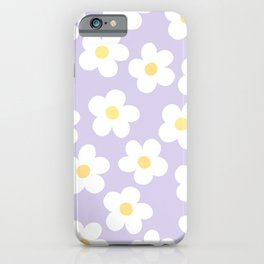 Lavender 70's Retro Flower Power iPhone Case