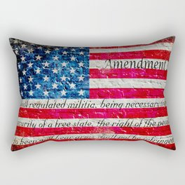 Distressed American Flag and 2nd Amendment On White Bricks Wall Rectangular Pillow