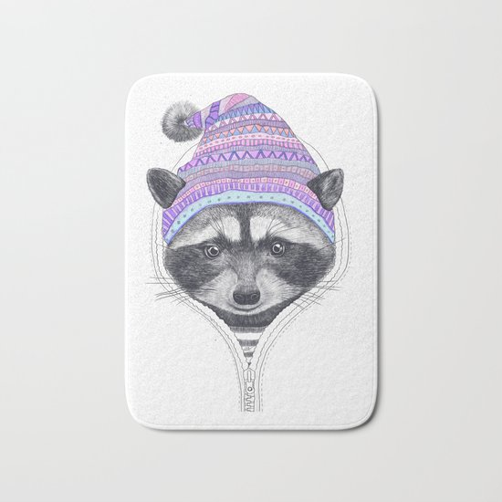 The raccoon in a hood Bath Mat