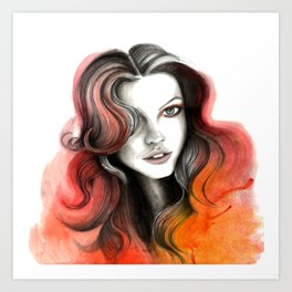 Red and Orange Flame Hair Art Print