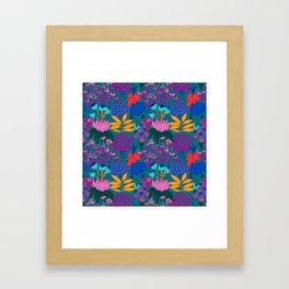 Psychedelic Jungle Garden in Pond Teal Framed Art Print