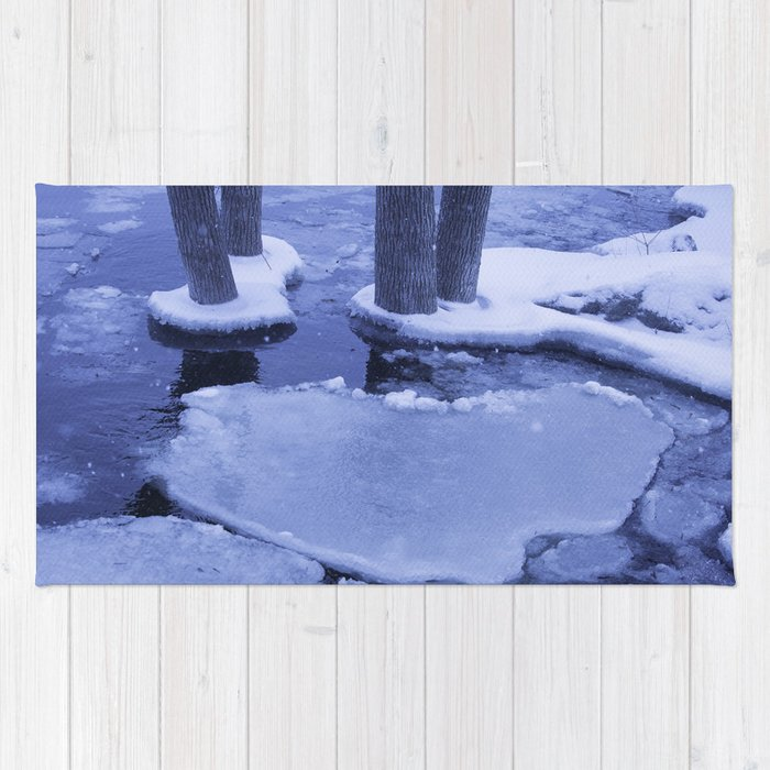 Ice Floes Crash And Creep At Edge Of The Otonabee River. Rug