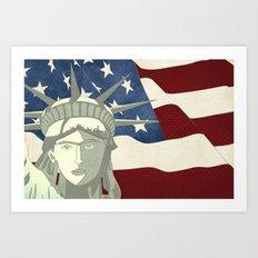 Statue of Liberty American Flag Art Print